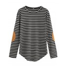 Milumia Camisa - curtas -  Milumia Women's Elbow Patch Striped High Low Top T-Shirt