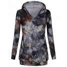 Miusey Shirts -  Miusey Women's Long Sleeve V Neck Tie Dyed Pullover Hoodie With Kangaroo Pocket