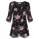 Miusey Shirts -  Miusey Women's V Neck Cuffed Sleeve Flounce Hem Button Casual Chiffon Blouse Top
