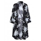 OUGES Shirts -  OUGES Women's 3/4 Sleeve Floral Chiffon Kimono Cardigan Blouse