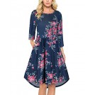 OUGES Dresses -  OUGES Women's 3/4 Sleeve Round Neck Floral Printed Pleated Casual Dresses With Pockets