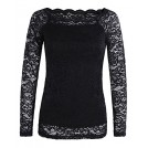 OUGES Shirts -  OUGES Women's Off Shoulder Scalloped Neck Floral Lace Top Shirt
