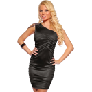Hot from Hollywood Vestiti -  One Shoulder Shirred Beads Trim Hot Party Mini Dress