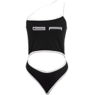 FECLOTHING Fatos -  One-word collar hollow letter contrast c
