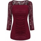 Poetsky Shirts -  POETSKY Women's Lace Patchwork Front Ruched Square Neck 3/4 Sleeve Blouse