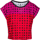 asia12 T恤 -  Pink Red Polka Dot Box Cut Flowy Tee