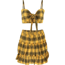FECLOTHING Dresses -  Plaid Vest Pleated Skirt Set