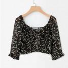 FECLOTHING Shirts -  Printed single-breasted V-neck short shi