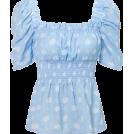 FECLOTHING Shirts -  Printed waist shirt retro square neck pu