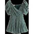 FECLOTHING Grembiule -  Puff Sleeve V-Neck Floral Jumpsuit