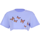 FECLOTHING 半袖衫/女式衬衫 -  Purple Butterfly Short Sleeve T-Shirt