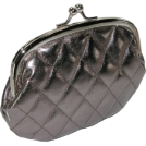Mundi Clutch bags -  Quilted Lux Framed Coin Purse Pewter