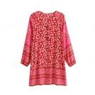 R.Vivimos Dresses -  R.Vivimos Women Autumn Long Sleeve Cotton Buttons Floral Print Boho Tunic Dresses