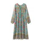 R.Vivimos Dresses -  R.Vivimos Women Long Sleeve Floral Print Retro V Neck Tassel Bohemian Long Dresses