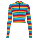 FECLOTHING Long sleeves shirts -  Rainbow Zip Long Sleeve T-Shirt
