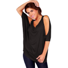 Hot from Hollywood Tunic -  Relaxed Loose-fitting Draped Dolman Sleeve Stretch Casual Party Blouse Tunic Top