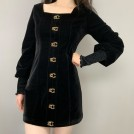 FECLOTHING Dresses -  Retro square neck velvet black dress lan