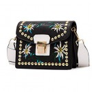 SUNGLORY Torbice -  Rivet Crossbody Bags for Women Flower Embroidery Style Shoulder Bag Cross Body Purse