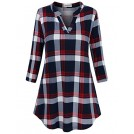 SUNGLORY Shirts -  SUNGLORY Women's Casual 3/4 Sleeve V-Neck Plaid Shirts Pullover Top
