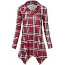 SUNGLORY Shirts -  SUNGLORY Women's Cowl Neck Tunic Top Asymmetrical Hemline Plaid Flowy Shirt(FBA)