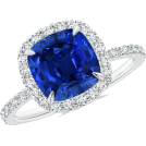 Angara Inc.  Aneis -  Sapphire Halo Cocktail Ring
