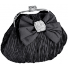 MG Collection Clutch bags -  Satin Bow Pleated Rhinestones Brooch & Clasp Frame Baguette Clutch Evening Bag Handbag Purse w/2 Hidden Chains Black