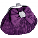 MG Collection Clutch bags -  Satin Bow Pleated Rhinestones Brooch & Clasp Frame Baguette Clutch Evening Bag Handbag Purse w/2 Hidden Chains Purple