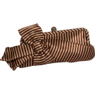 PacificPlex Bolsas com uma fivela -  Satin Striped Bow Clutch Evening Bag Purse Beige