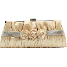 Scarleton Clutch bags -  Scarleton Satin Clutch with Rhinestones and Roses H3064 Gold