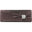 Scarleton Clutch bags -  Scarleton Satin Flap Clutch With Crystals H3020 Coffee