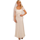 Hot from Hollywood Wedding dresses -  Short Sleeve Empire Waist Lace Overlay Full Length Wedding Gown Bridal Dress