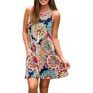 Amazon.com Dresses -  Silvous Women's Sleeveless Damask Floral Sun Dress Swing Midi Pockets T-Shirt Dress