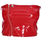 FECLOTHING Tunike -  Solid color zip PU leather wrapped chest