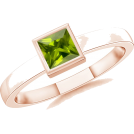 Angara Inc.  Aneis -  Square Green Peridot Ring