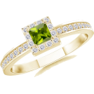 Angara Inc.  Aneis -  Square Peridot Ring