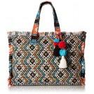 Steve Madden Hand bag -  Steve Madden Womens Keegs Multi Colored Beaded Embroidered Tote Handbag