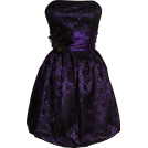 PacificPlex Obleke -  Strapless Lace Overlay Satin Bubble Prom Dress Black-Purple