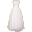 PacificPlex Wedding dresses -  Strapless Tulle Prom Dress Holiday Formal Ball Gown Gold Embroidery Ivory