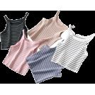 FECLOTHING Vests -  Stripe narrow shoulder wool vest