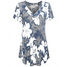 Sweetnight Shirts -  Sweetnight Women Floral Print V Neck Button Decor Peasant Summer Swing Tunic Tops Shirts