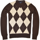 Tommy Hilfiger Pullovers -  TOMMY HILFIGER Mens Argyle V-Neck Plaid Knit Sweater Brown/Cream/Gray