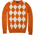 Tommy Hilfiger Jerseys -  TOMMY HILFIGER Mens Argyle V-Neck Plaid Knit Sweater Orange burnt/off white