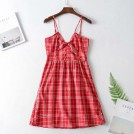 FECLOTHING Dresses -  Tied plaid A-line skirt V-neck sling dre