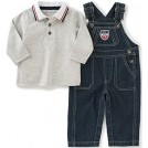 Tommy Hilfiger Pantaloni -  Tommy Hilfiger Baby Boys' Denim Overall With Polo Set