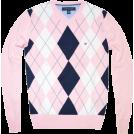 Tommy Hilfiger Pullovers -  Tommy Hilfiger Men Argyle Plaid Knit Logo V-Neck Sweater Light pink/white/navy