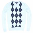 Tommy Hilfiger Pullovers -  Tommy Hilfiger Men Logo Argyle V-neck Sweater Pullover Light Blue/Navy