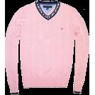 Tommy Hilfiger Pullovers -  Tommy Hilfiger Men Logo V-Neck Sweater Pink