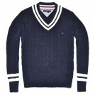 Tommy Hilfiger Pullovers -  Tommy Hilfiger Men V-neck Cable Knit Sweater Pullover Navy/White