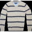 Tommy Hilfiger Pullovers -  Tommy Hilfiger Men V-neck Striped Logo Sweater Pullover Khaki/Navy