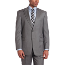 Tommy Hilfiger Suits -  Tommy Hilfiger Men's 2 Button Side Vent Trim Fit Stripe Suit with Flat Front Pant and Peak Lapel Gray